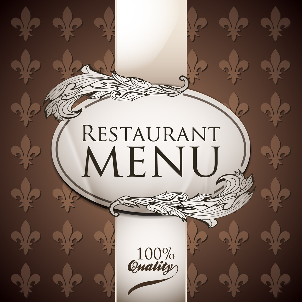 Vector template for restaurant menu. Brown and white colors