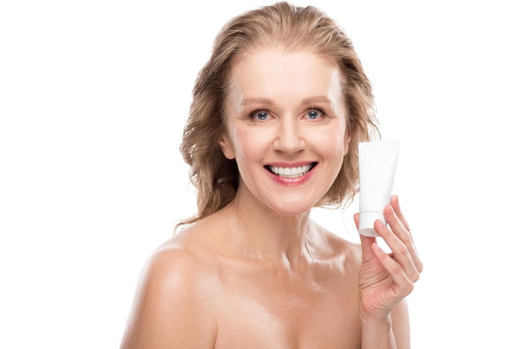 Mature women smiling nude Beautiful Smiling Mature Woman With Perfect Skin Holding Moisturizing Face Cream Isolated On White Free Stock Photo And Image