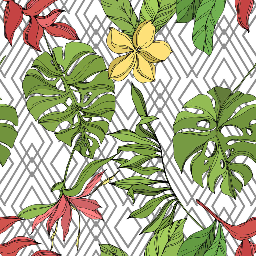 Exotic tropical hawaiian summer. Palm beach tree leaves jungle botanical succulent. Black and green engraved ink art. Seamless background pattern. Fabric wallpaper print texture.