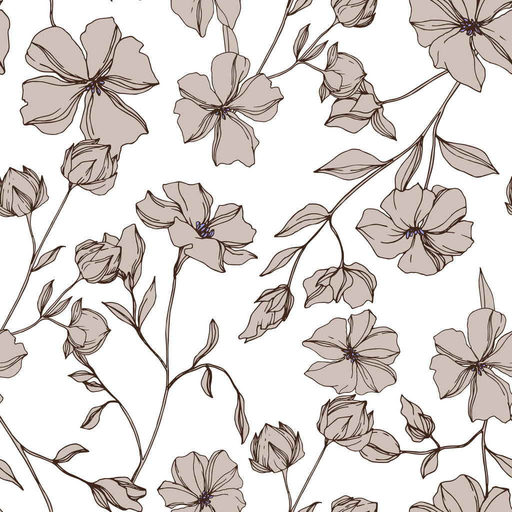 Vector Flax floral botanical flowers. Wild spring leaf wildflower isolated. Gray engraved ink art. Seamless background pattern. Fabric wallpaper print texture.