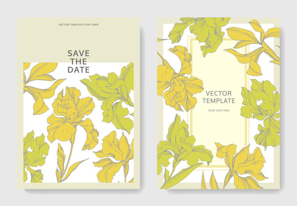 Iris floral botanical flowers. Black and white engraved ink art. Wedding background card floral decorative border. Thank you, rsvp, invitation elegant card illustration graphic set banner.