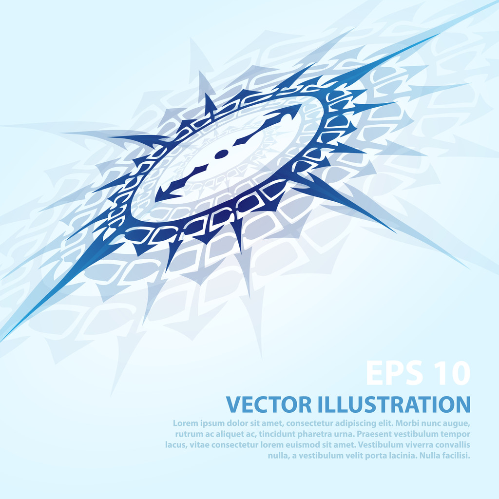 Vector background with blue compass.