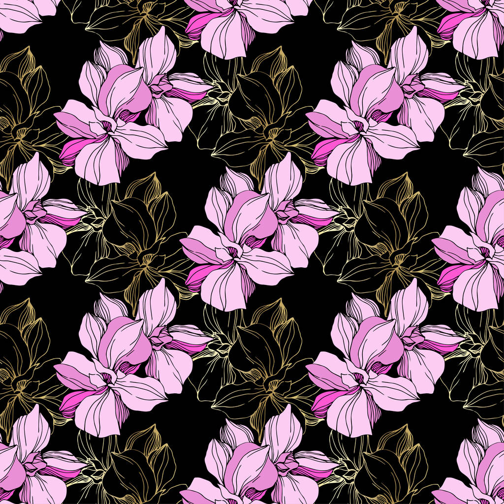 Vector Pink orchid. Floral botanical flower. Wild spring leaf wildflower isolated. Engraved ink art. Seamless background pattern. Fabric wallpaper print texture.