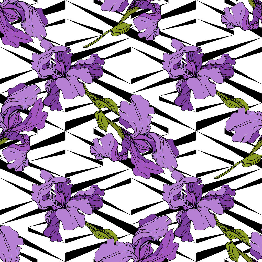 Vector Iris floral botanical flower. Wild spring leaf wildflower isolated. Engraved ink art. Seamless background pattern. Fabric wallpaper print texture.