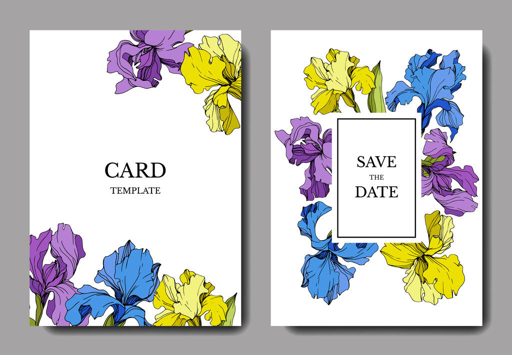 Vector wedding invitation cards with irises and lettering