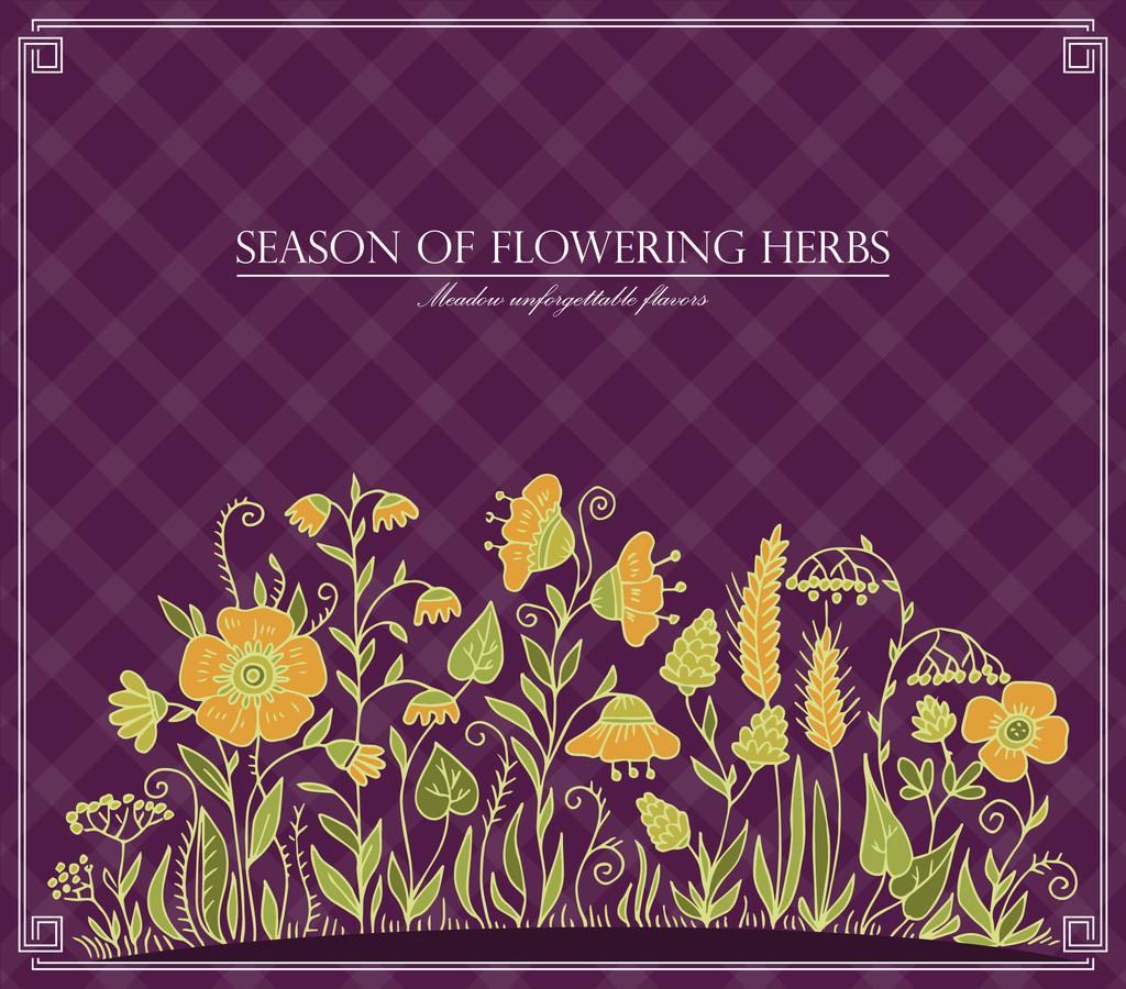 Vector season of flowering herbs
