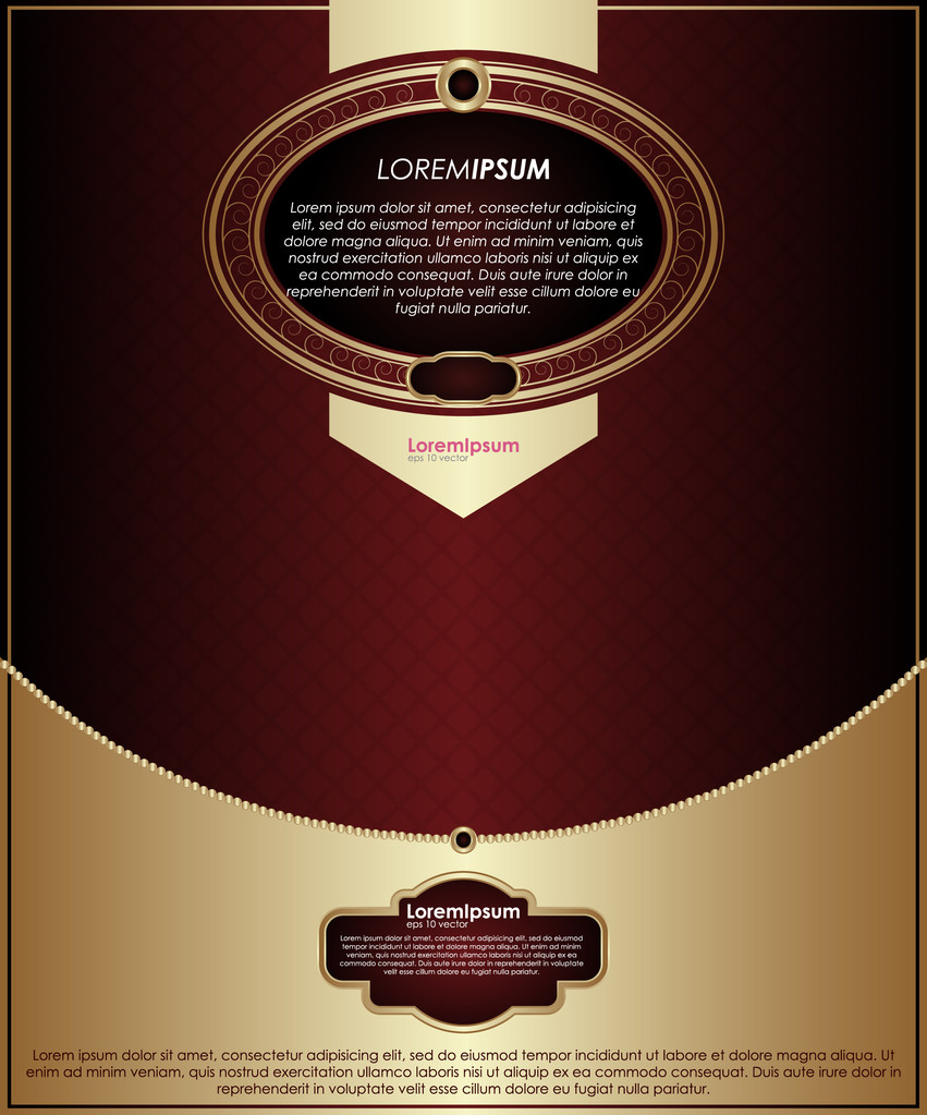 Vintage background, vector gold and red template