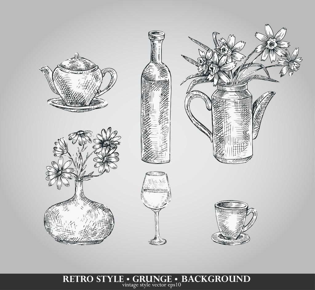 Vector set of kitchen ware. Teapot, bottle, vase, glass,cup. Retro style