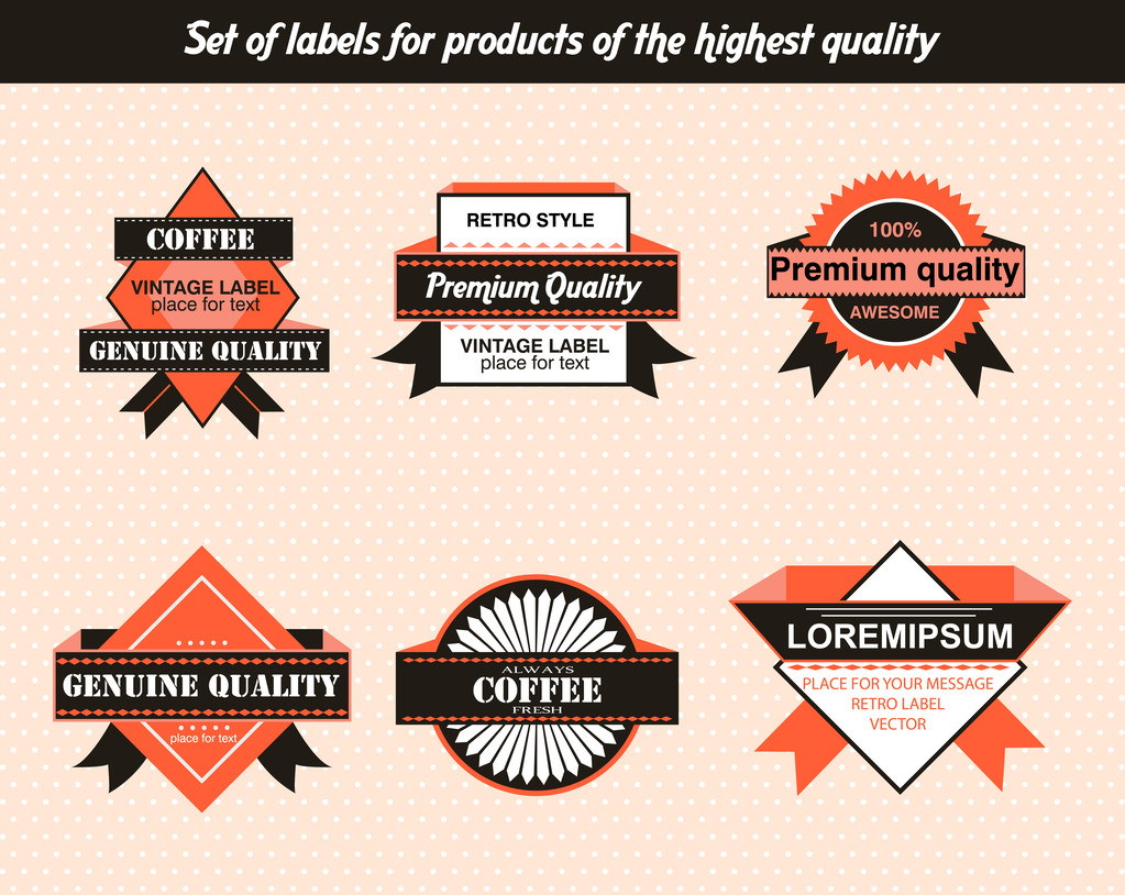 Set of labels for products of the highest quality
