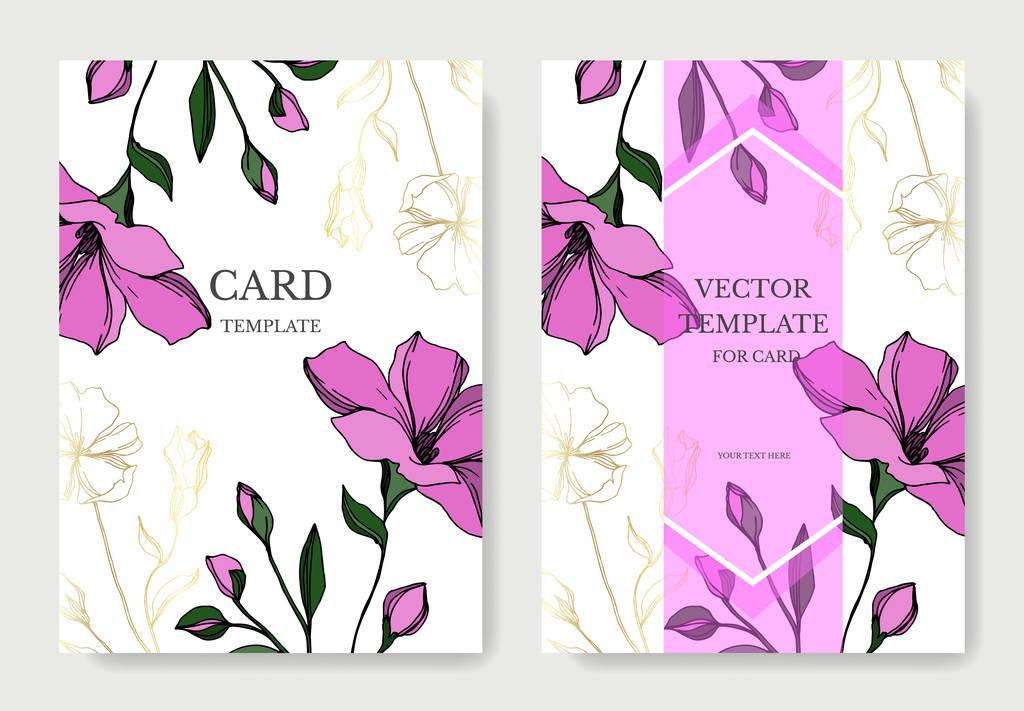 Vector Flax floral botanical flowers. Black and white engraved ink art. Wedding background card floral decorative border. Thank you, rsvp, invitation elegant card illustration graphic set banner.
