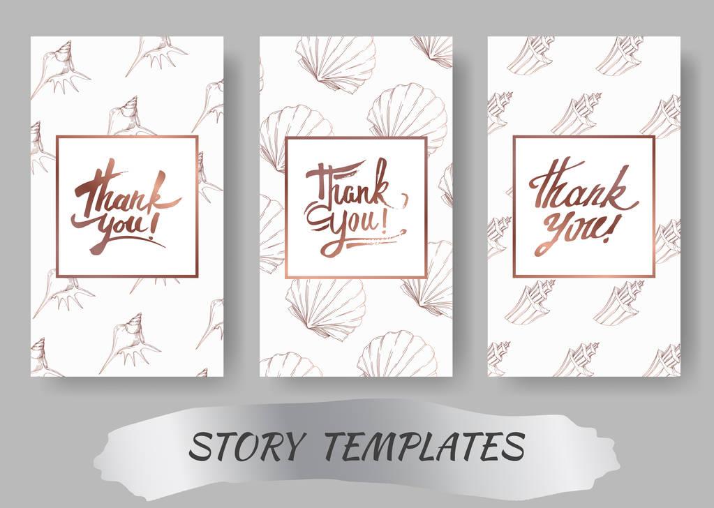 Vector Summer beach seashell tropical elements. Engraved ink art. Wedding background card decorative border. Thank you, rsvp, invitation elegant card illustration graphic set banner.