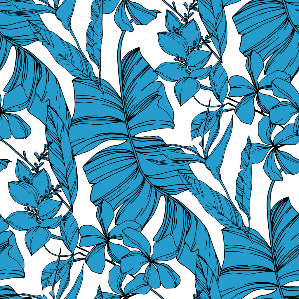 Vector Exotic tropical hawaiian summer. Palm beach tree leaves jungle botanical plant. Black and white engraved ink art. Seamless background pattern. Fabric wallpaper print texture.