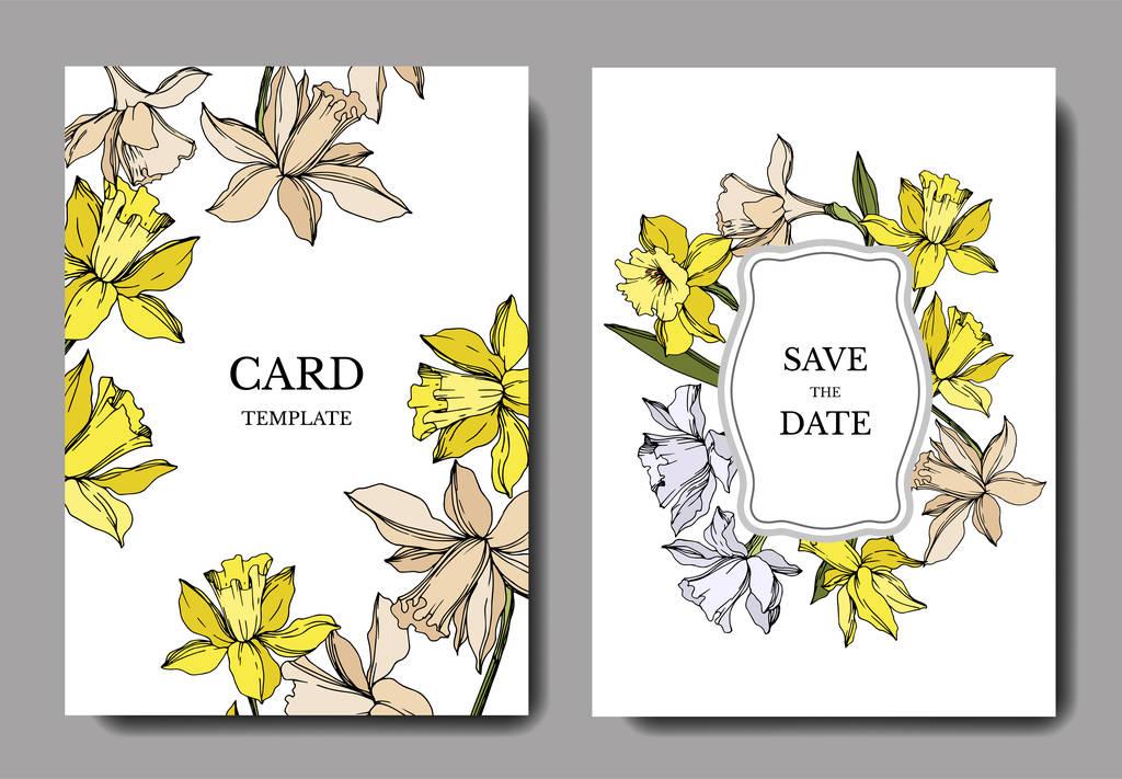 Vector Narcissus floral botanical flowers. Black and white engraved ink art. Wedding background card floral decorative border. Thank you, rsvp, invitation elegant card illustration graphic set banner.