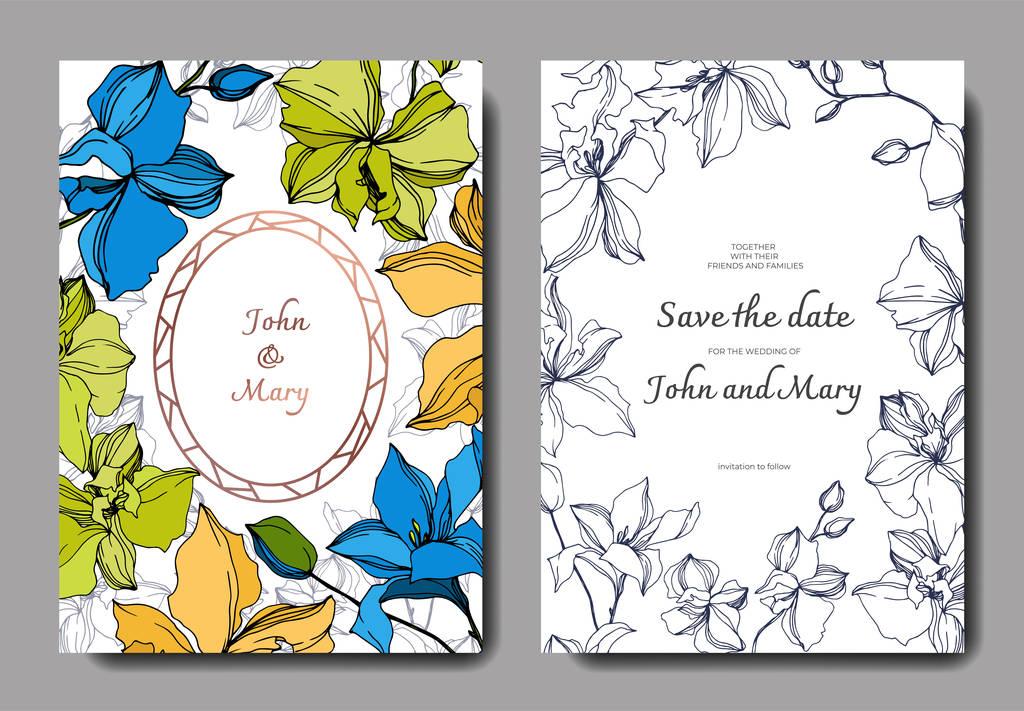 Vector Orchid floral botanical flowers. Black and white engraved ink art. Wedding background card floral decorative border. Thank you, rsvp, invitation elegant card illustration graphic set banner.