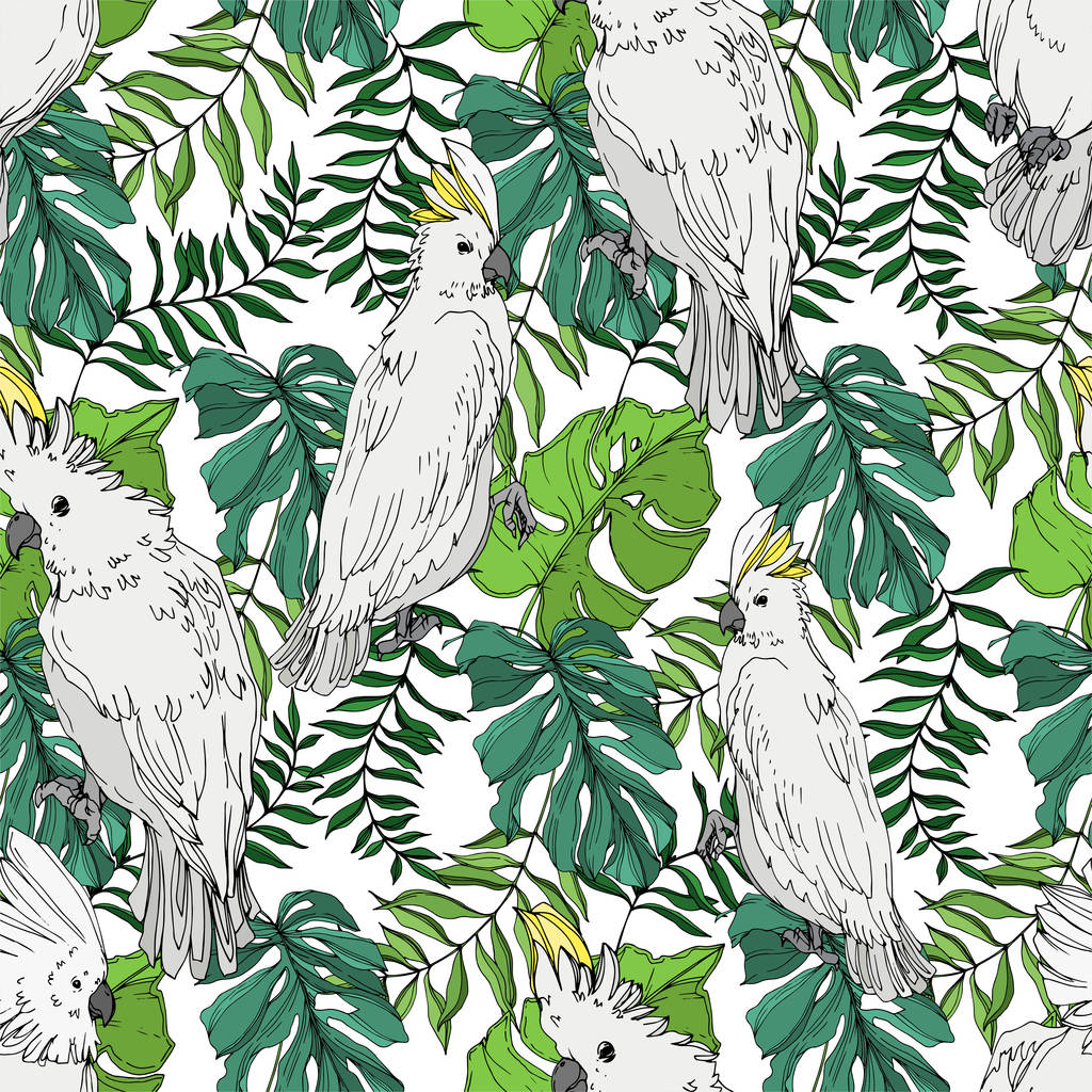 Vector Sky bird cockatoo in a wildlife. Wild freedom, bird with a flying wings. Black and white engraved ink art. Seamless background pattern. Fabric wallpaper print texture.