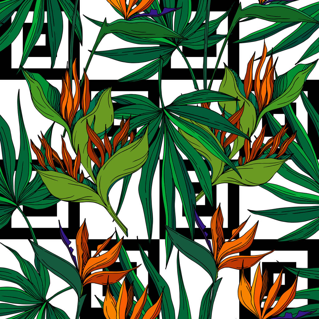 Vector Tropical floral botanical flowers. Wild spring leaf wildflower isolated. Black and white engraved ink art. Seamless background pattern. Fabric wallpaper print texture.