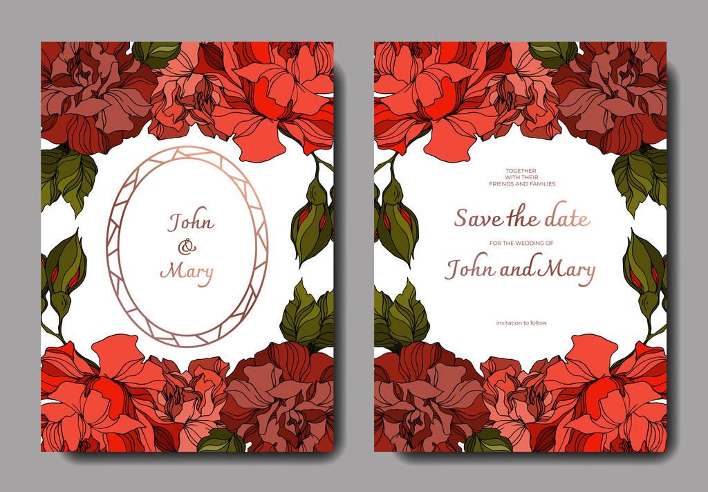 Vector Rose floral botanical flowers. Black and white engraved ink art. Wedding background card decorative border. Thank you, rsvp, invitation elegant card illustration graphic set banner.