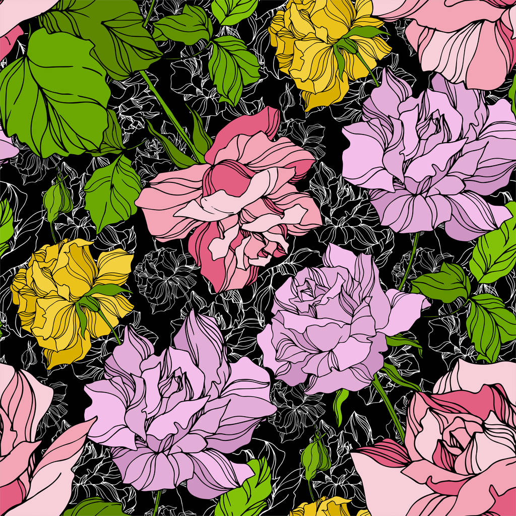 Vector Rose floral botanical flowers. Wild spring leaf wildflower isolated. Engraved ink art. Seamless background pattern. Fabric wallpaper print texture.