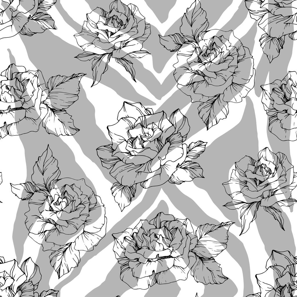 Vector Exotic Zebra print with floral botanical flowers. Black and white engraved ink art. Seamless background pattern. Fabric wallpaper print texture.