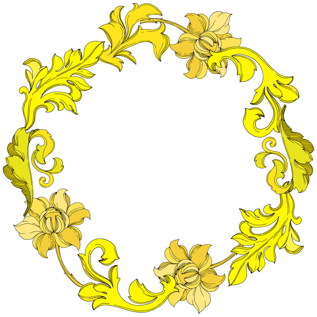 Vector Golden monogram floral ornament. Baroque design isolated elements. Black and white engraved ink art. Frame border ornament square on white background.