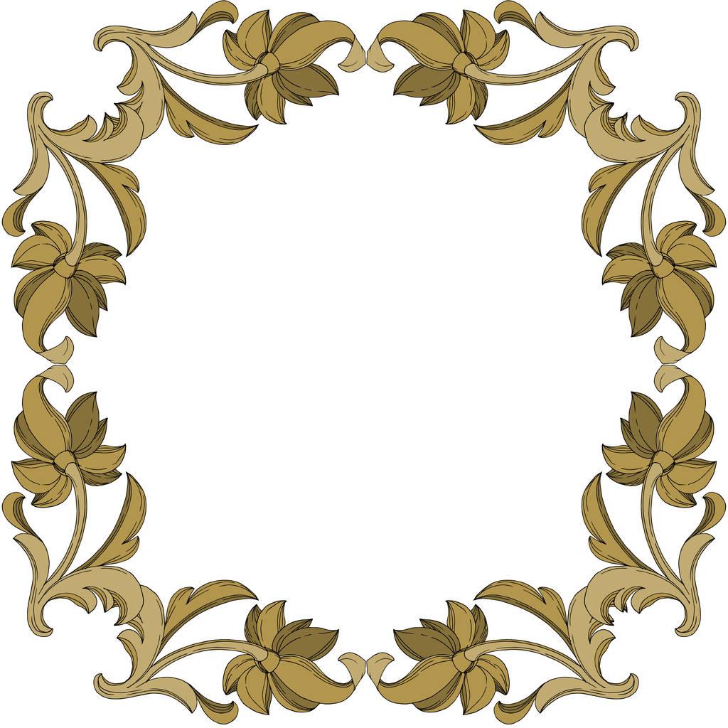 Vector Golden monogram floral ornament. Baroque design elements. Black and white engraved ink art. Frame border ornament square on white background.