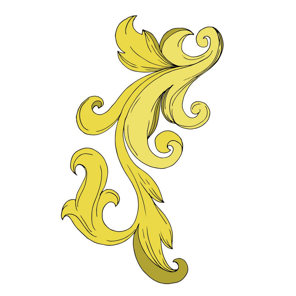 Vector Golden monogram floral ornament. Baroque design elements. Black and white engraved ink art. Isolated ornament illustration element on white background.
