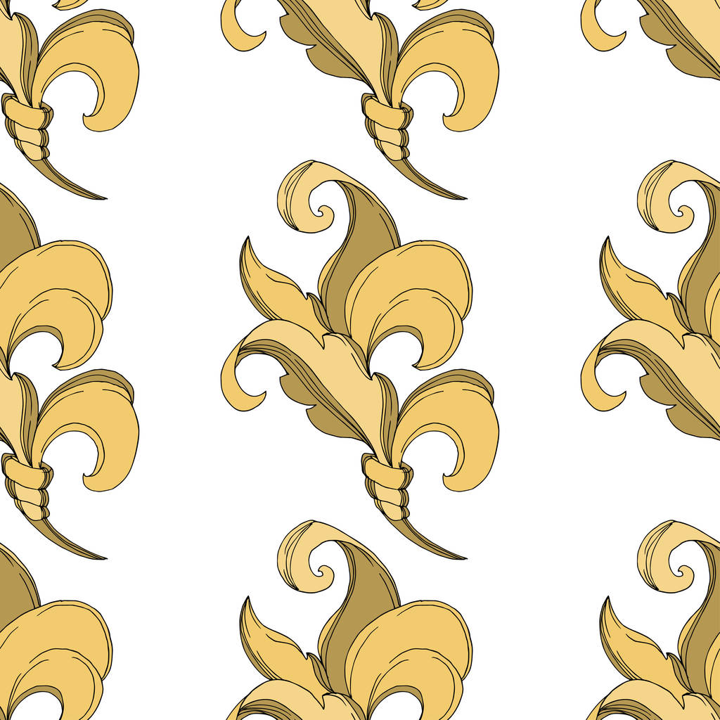 Vector Golden monogram floral ornament. Baroque design elements. Black and white engraved ink art. Seamless background pattern. Fabric wallpaper print texture.