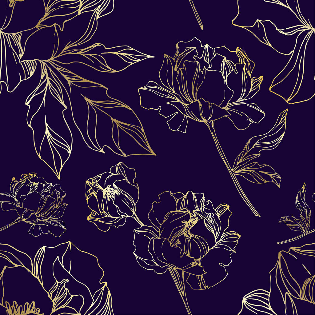 Vector Peony floral botanical flowers. Wild spring leaf wildflower isolated. Black and white engraved ink art. Seamless background pattern. Fabric wallpaper print texture.