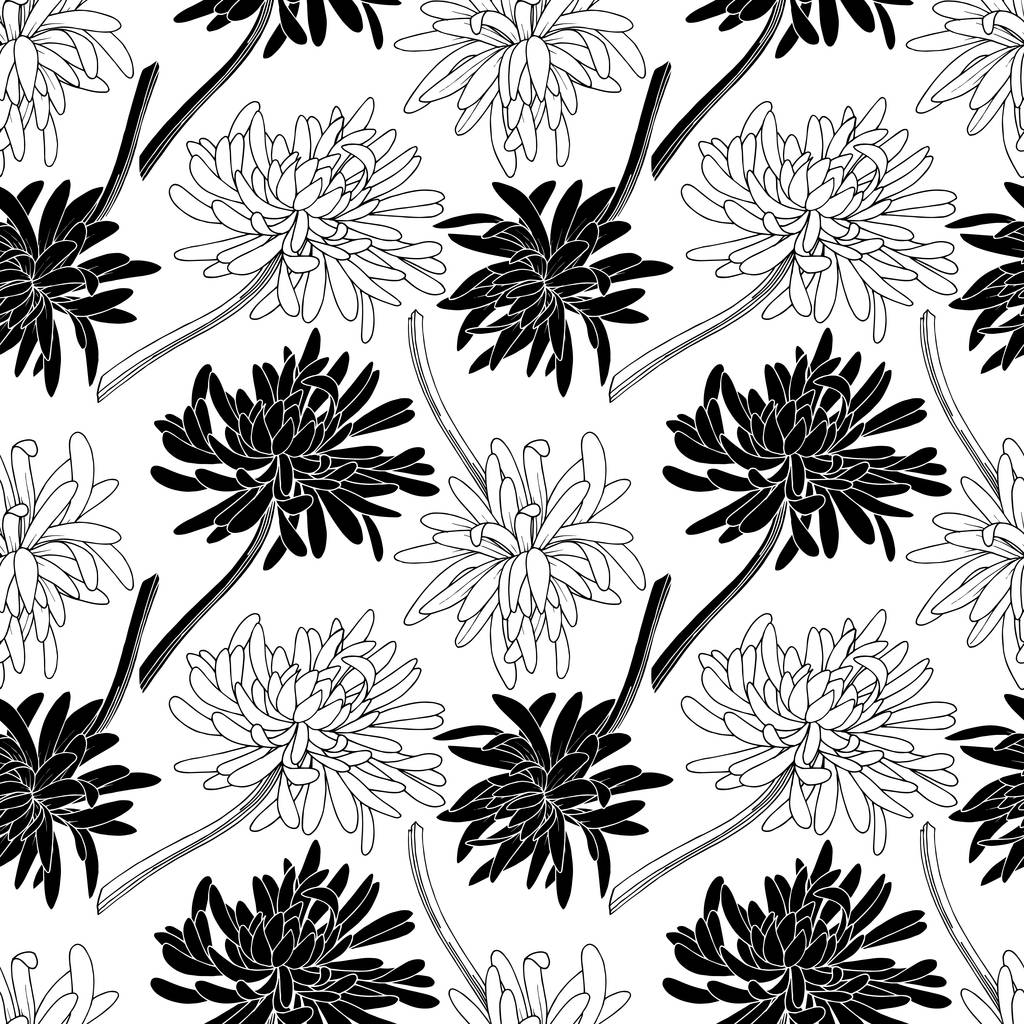 Vector Chrysanthemum floral botanical flower. Wild spring leaf wildflower isolated. Black and white engraved ink art. Seamless background pattern. Fabric wallpaper print texture.
