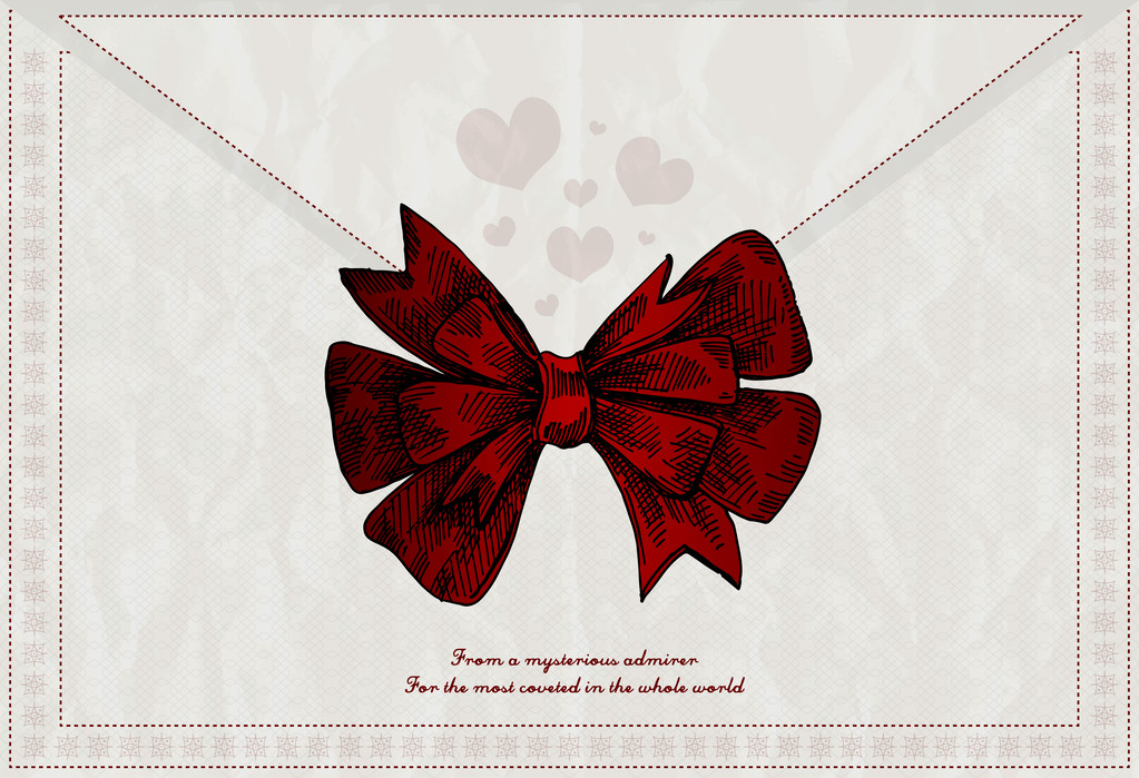 Vector letter background with red bow