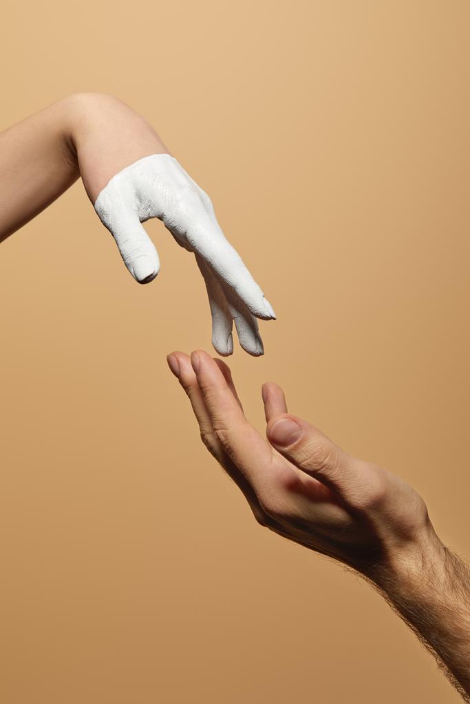 Mann frau hand berührt an der Die Körpersprache