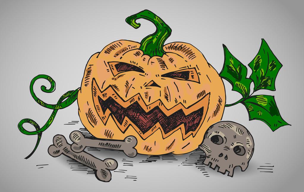 Halloween illustration with pumpkin and dead bones