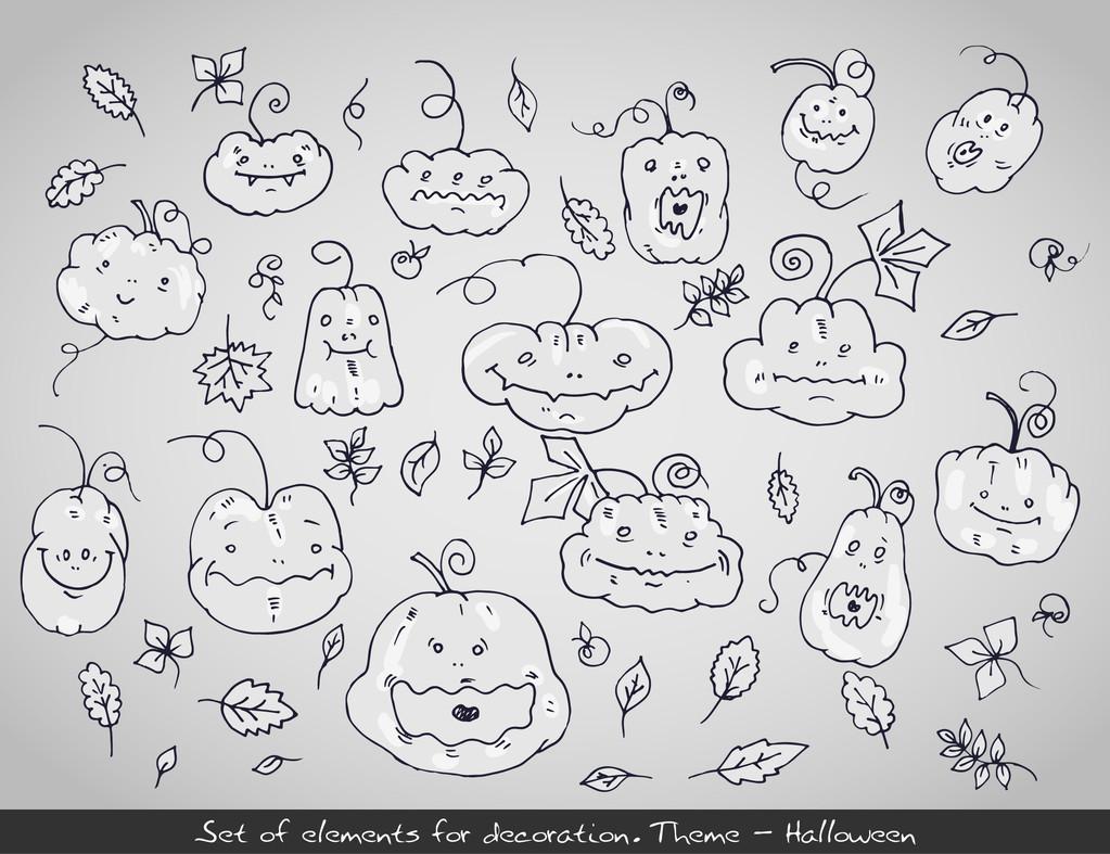 Set of cartoon Halloween pumpkins. Vector illustration
