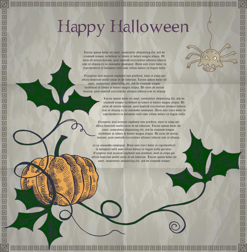 Halloween card with pumpkin. Vector illustration