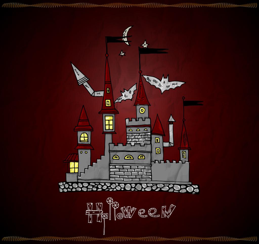 Haunted castle. Halloween card. Vector illustration