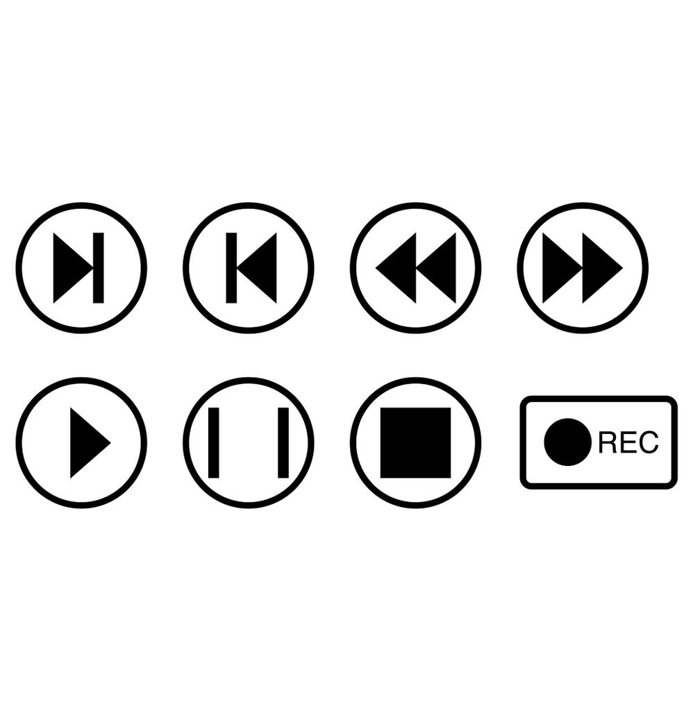 Vector music buttons icons in circles on white background