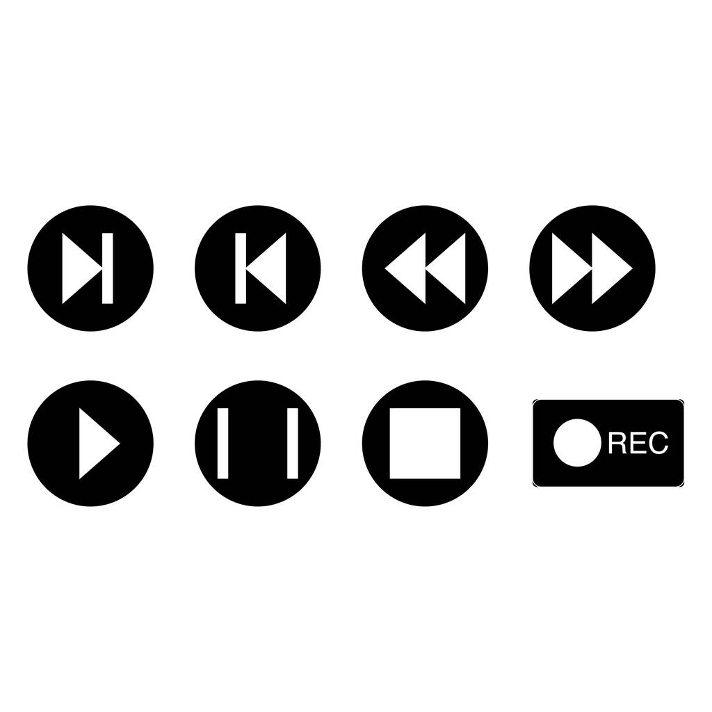 Vector music buttons icons in black circles on white background