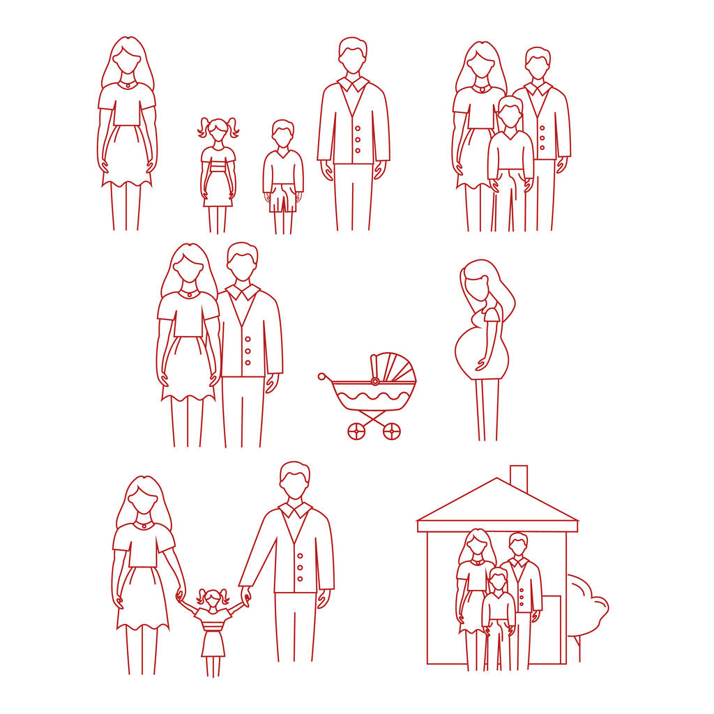 Vector icons with family, pregnant woman and stroller on white background