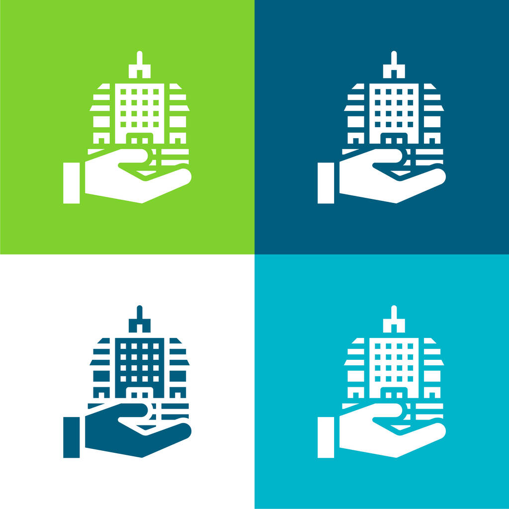 Bank Flat four color minimal icon set