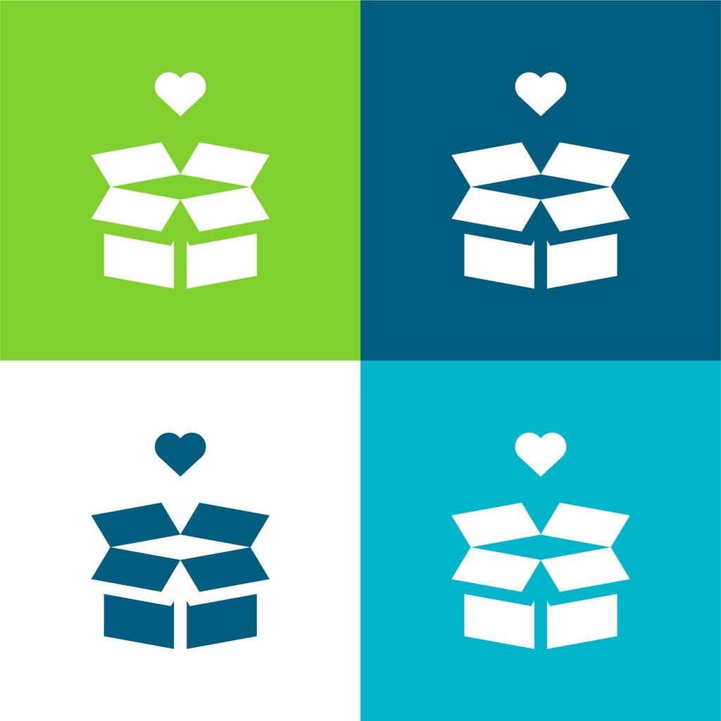 Box Flat four color minimal icon set