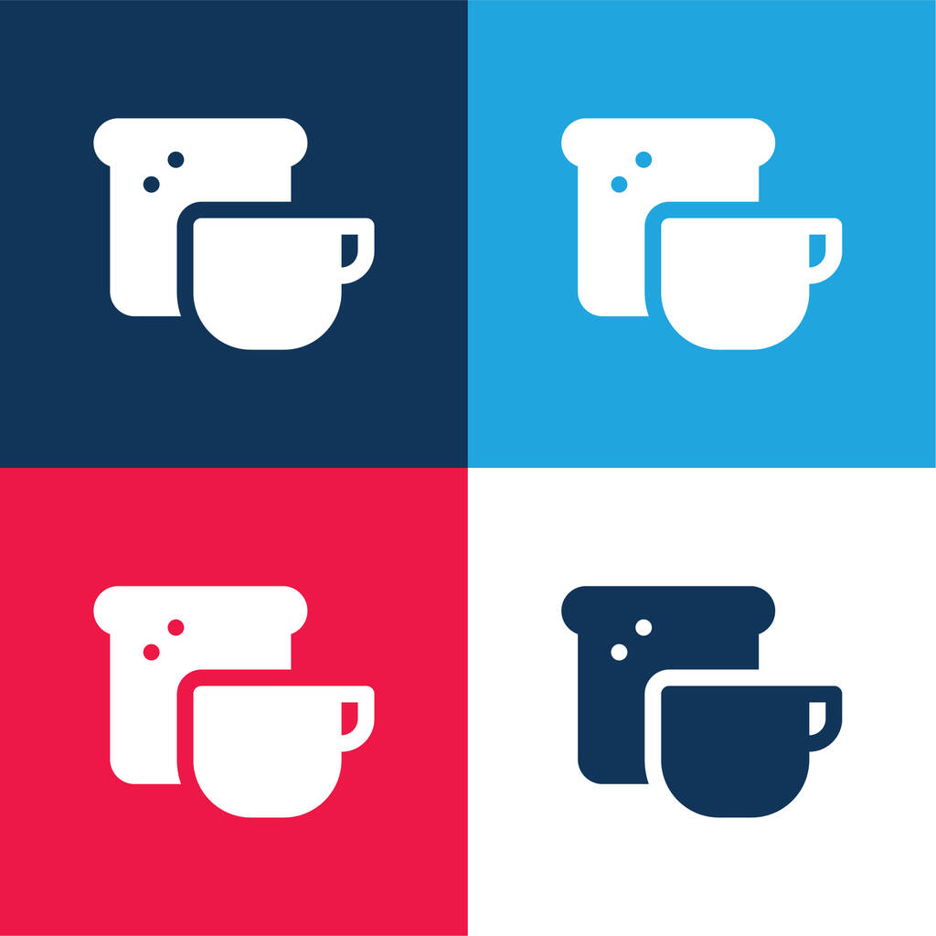 Breakfast blue and red four color minimal icon set