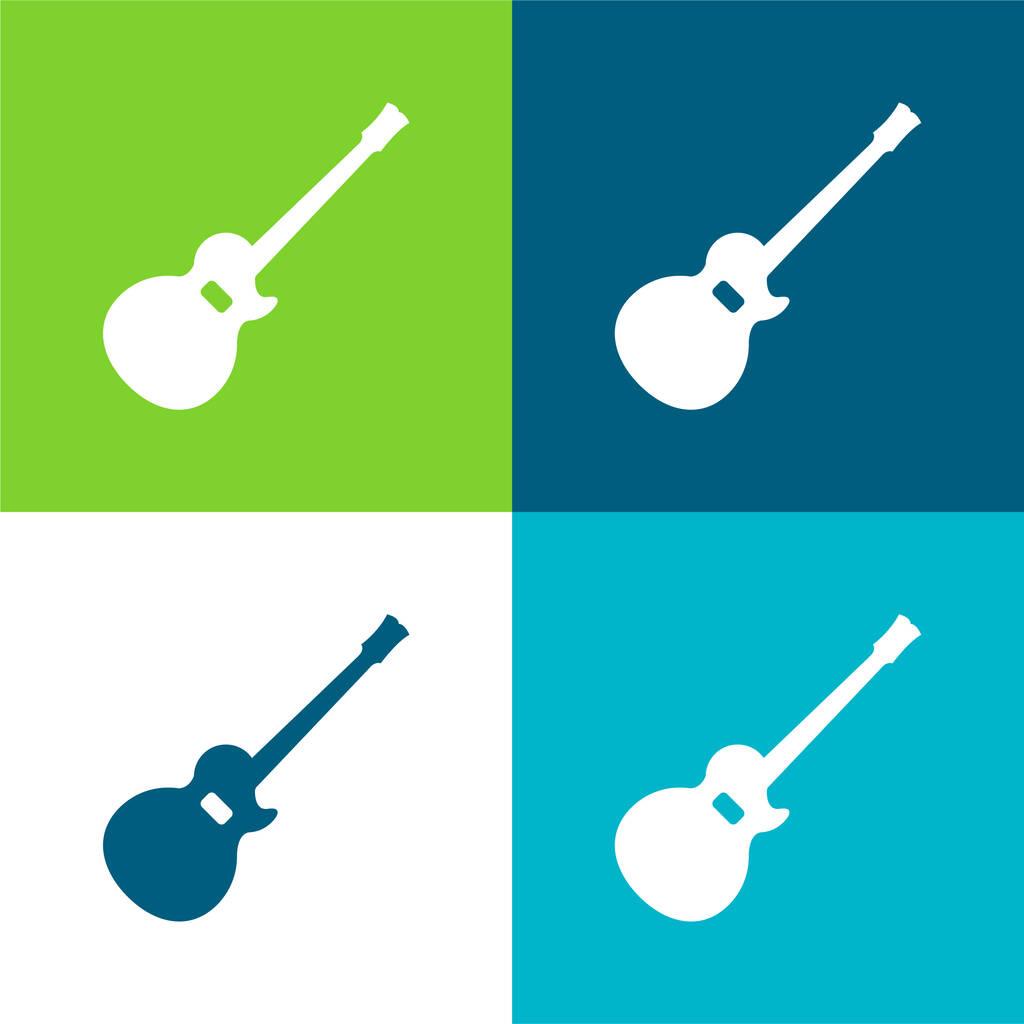 Acoustic Guitar Silhouette Flat four color minimal icon set