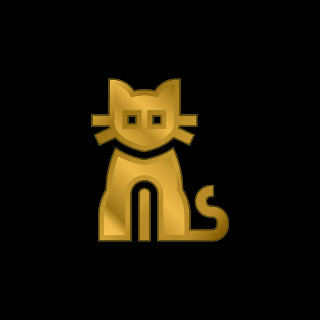 Black Cat gold plated metalic icon or logo vector