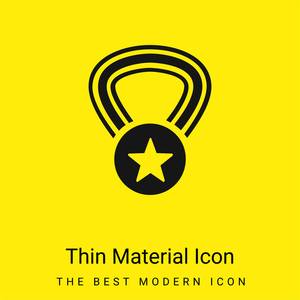 Award Medal With A Star On A Necklace minimal bright yellow material icon