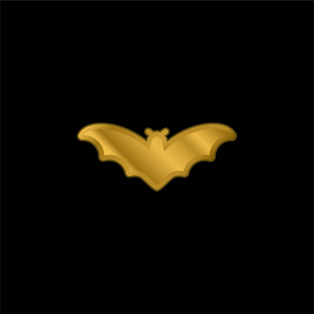 Bat gold plated metalic icon or logo vector