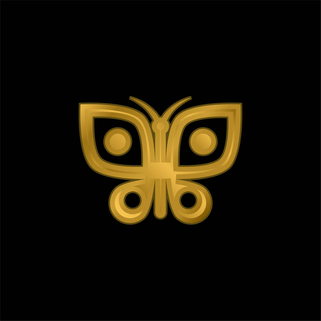 Big Butterfly gold plated metalic icon or logo vector