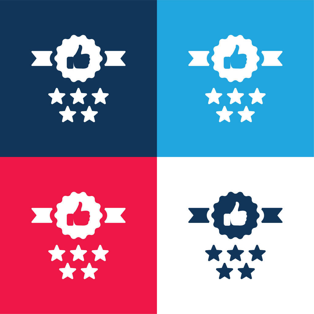 Badge blue and red four color minimal icon set