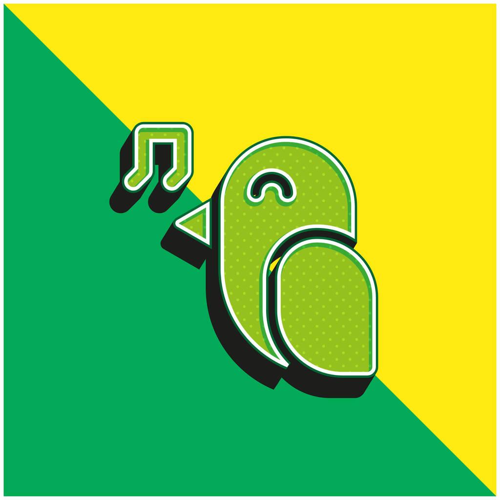Bird Green and yellow modern 3d vector icon logo