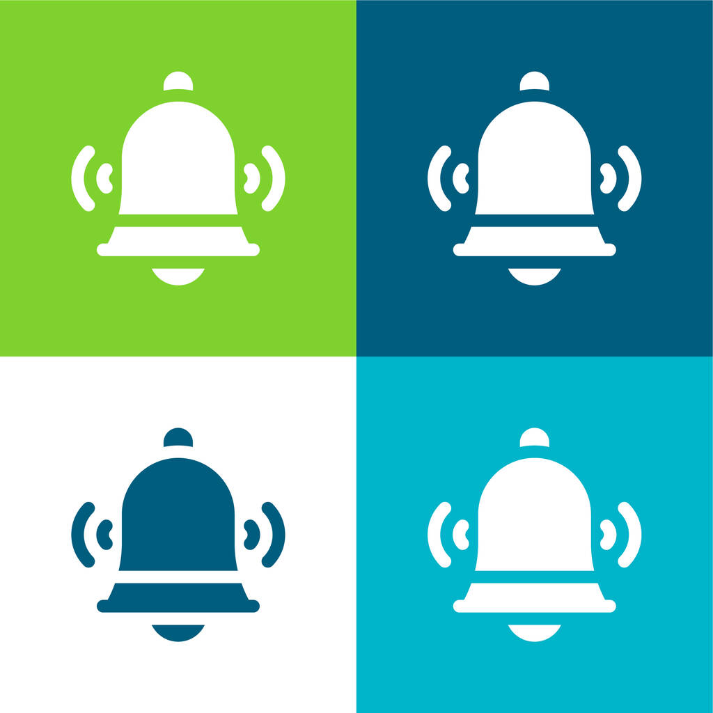 Bell Flat four color minimal icon set