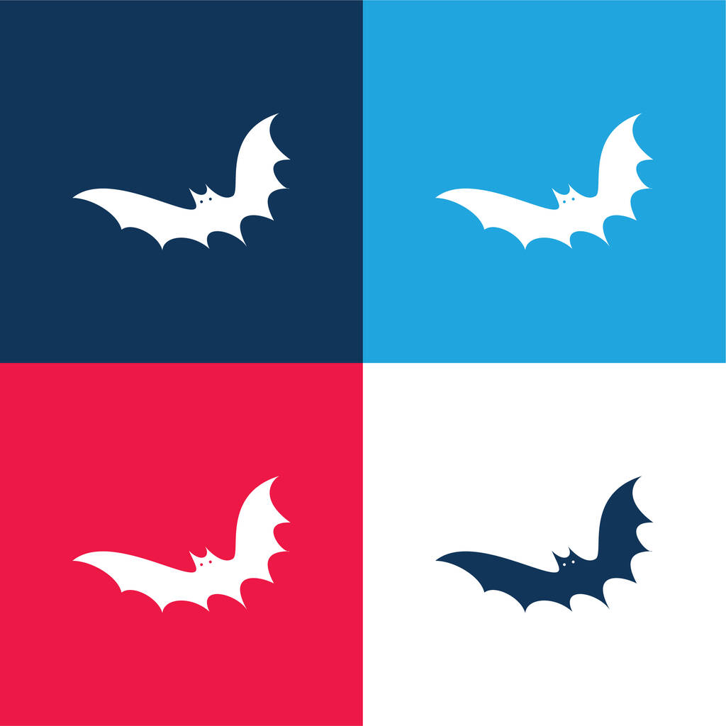 Bat blue and red four color minimal icon set